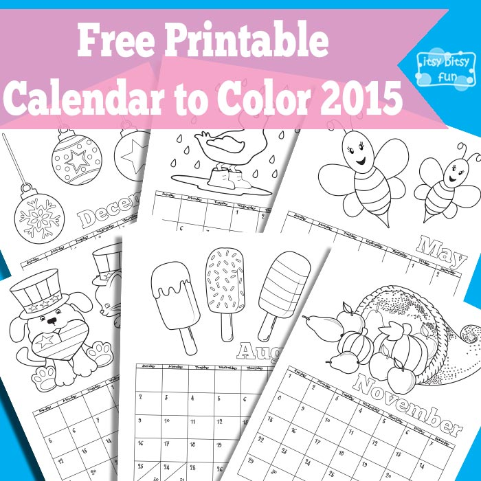 8 Images of 2015 Calendar Free Printable Coloring Pages