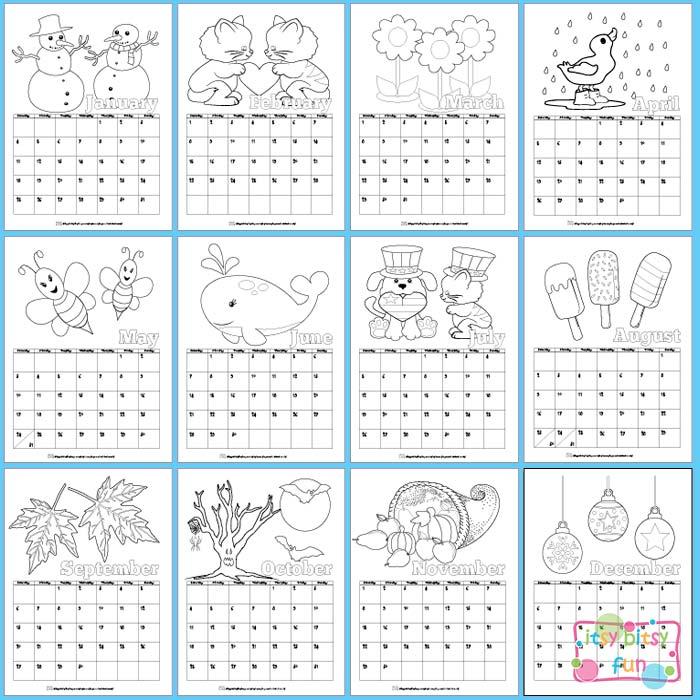 2016 Calendar Printable Kids Coloring
