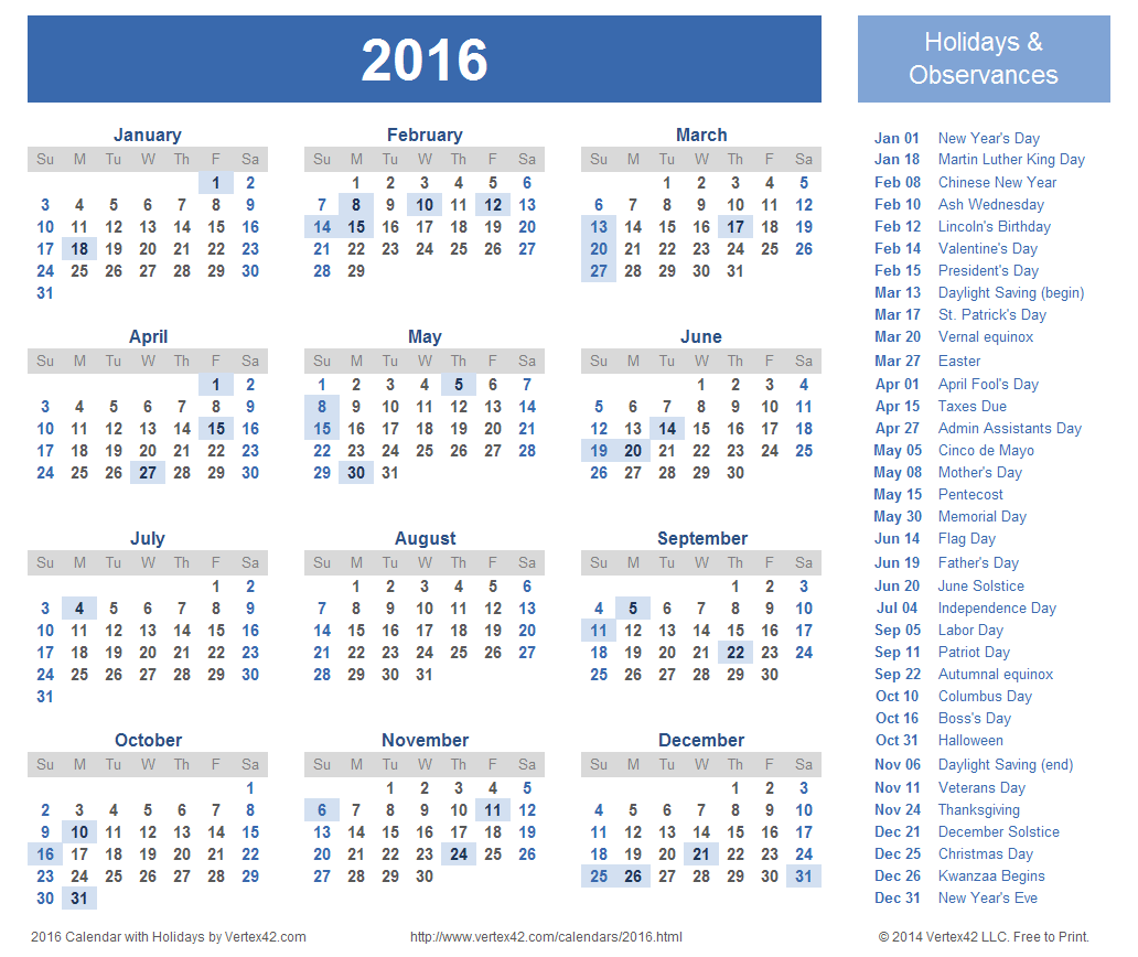 7 Images of Vertex Calendar 2016 With Holidays Printable
