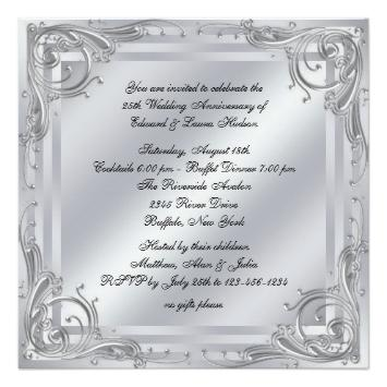 25th Wedding Anniversary Invitations Wording