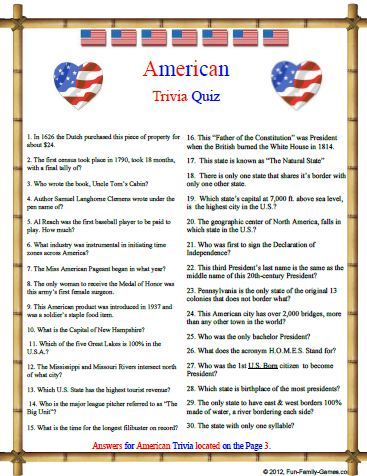 7 best images of printable sports trivia printable for Good facts about america