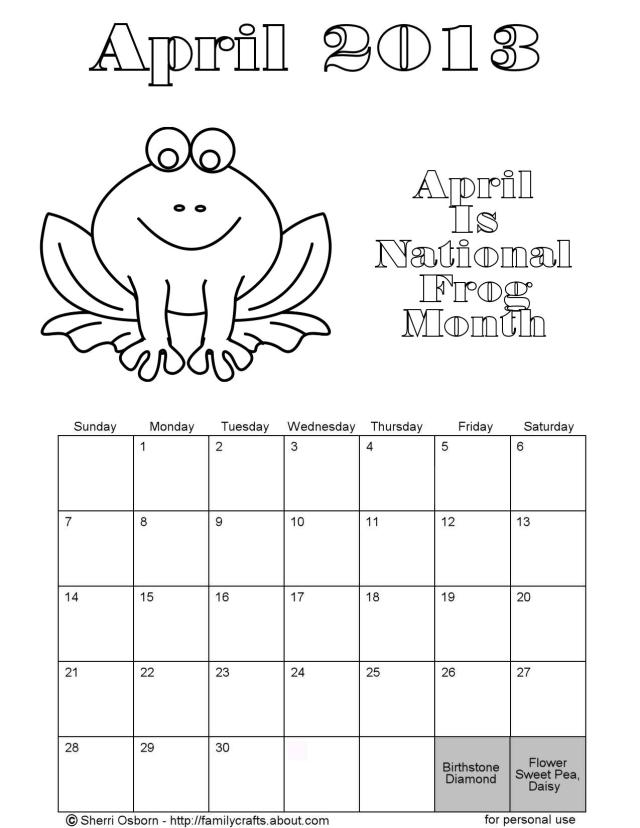 Calendar Kids April : Best images of calendar free printable coloring