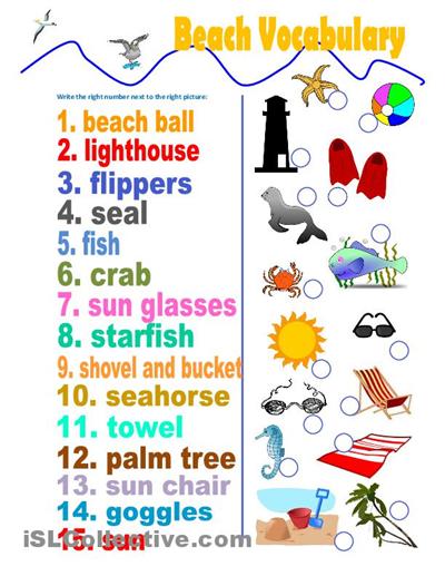 Beach Vocabulary Word Worksheet