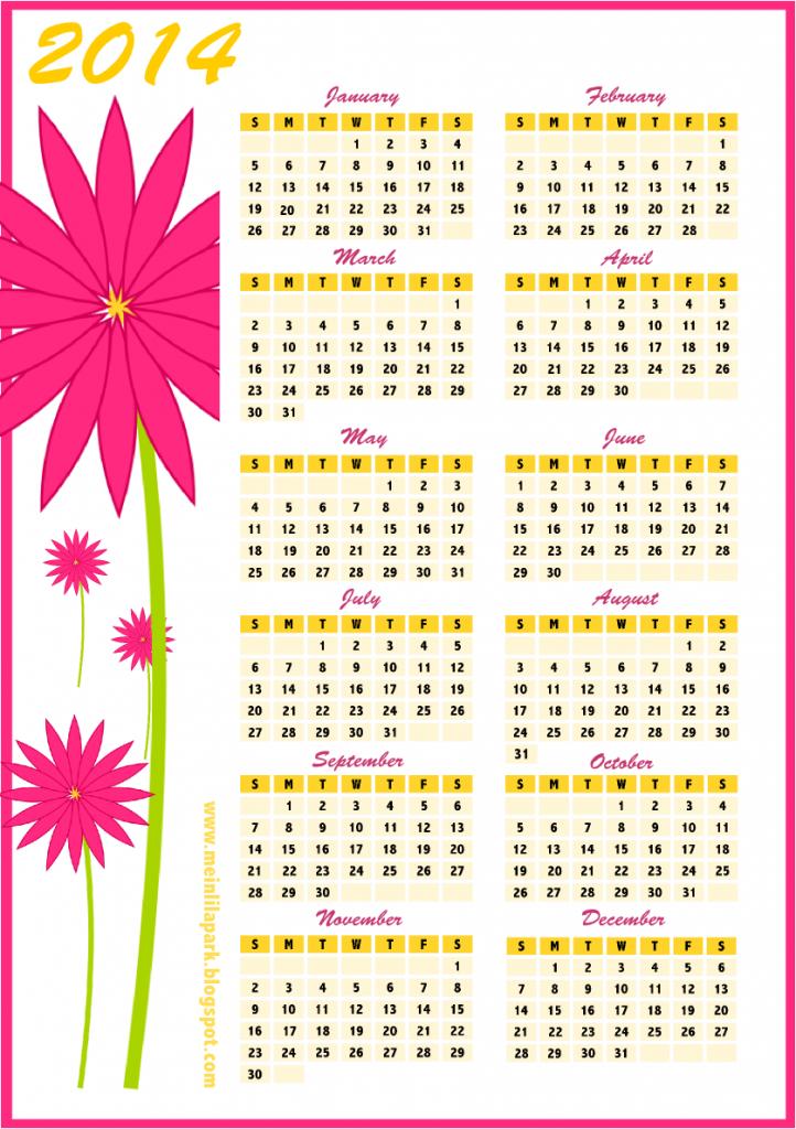 Calendar 2014 Printable One Page