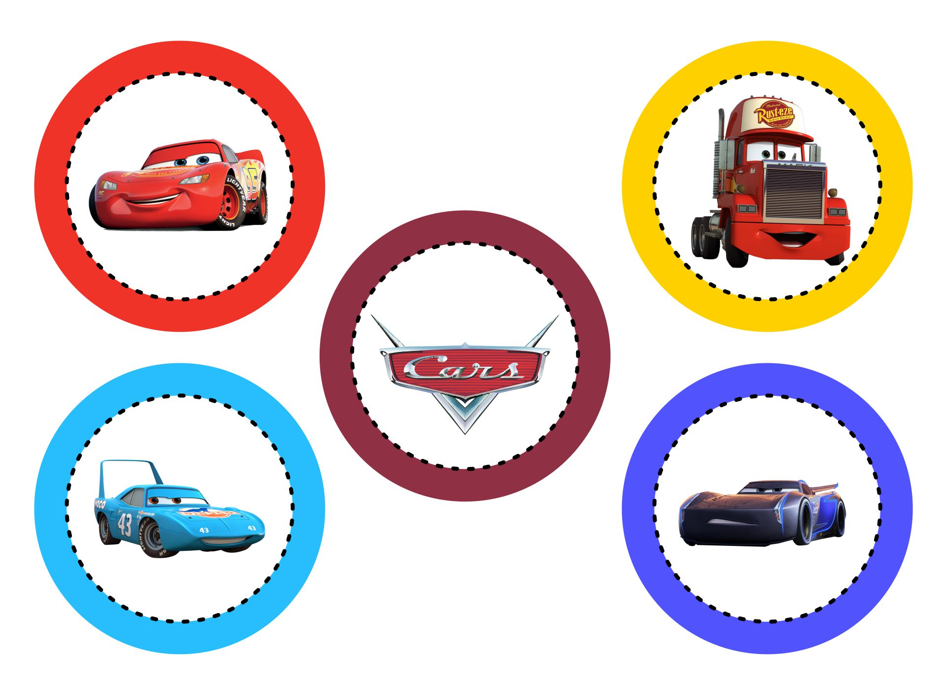 7 Images of Printable Disney Cars Cake Toppers