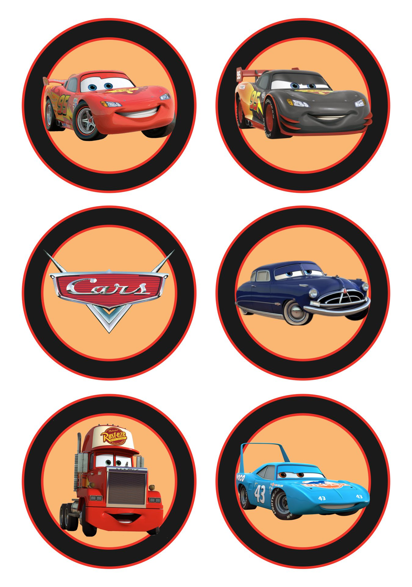 Disney Pixar Cars Cupcake Toppers