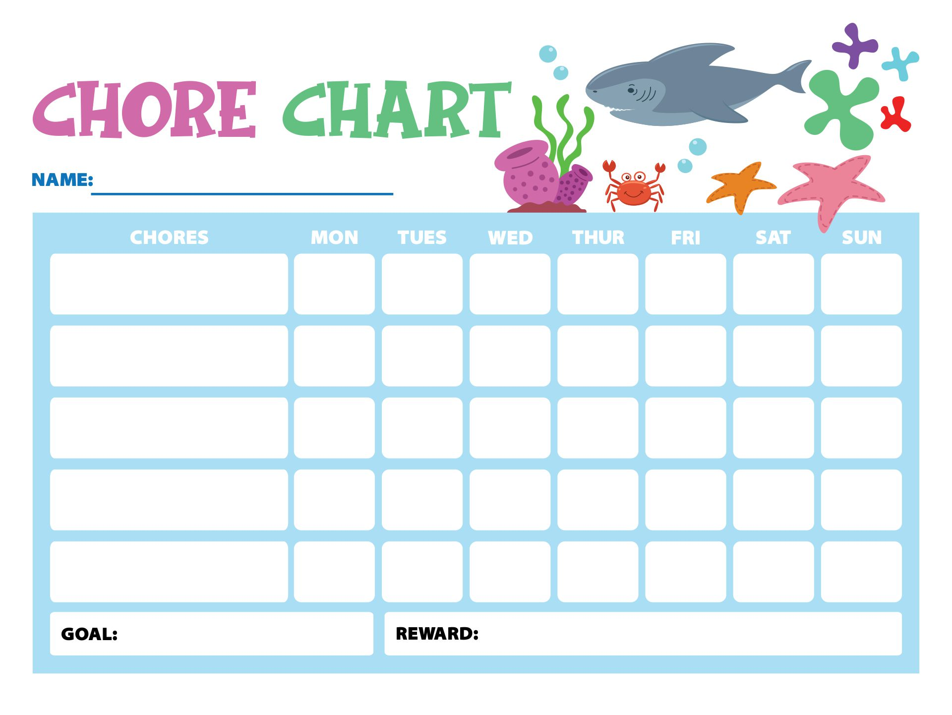 chore list template for kids - 9 best images of free printable shark chore chart free