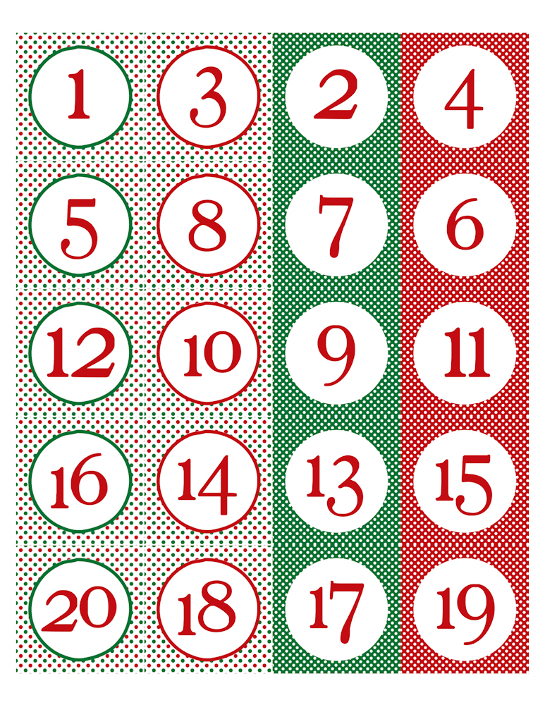Free Printable Christmas Calendar Numbers