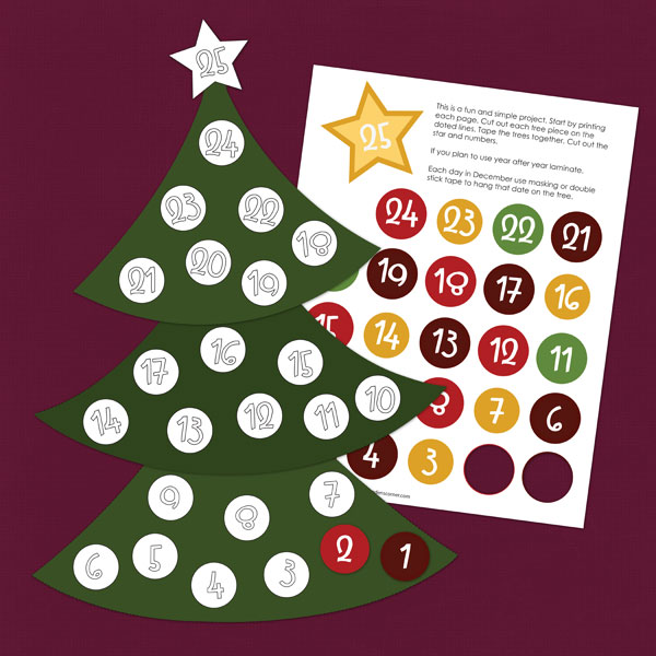 6 Images of Christmas Countdown Tree Printable