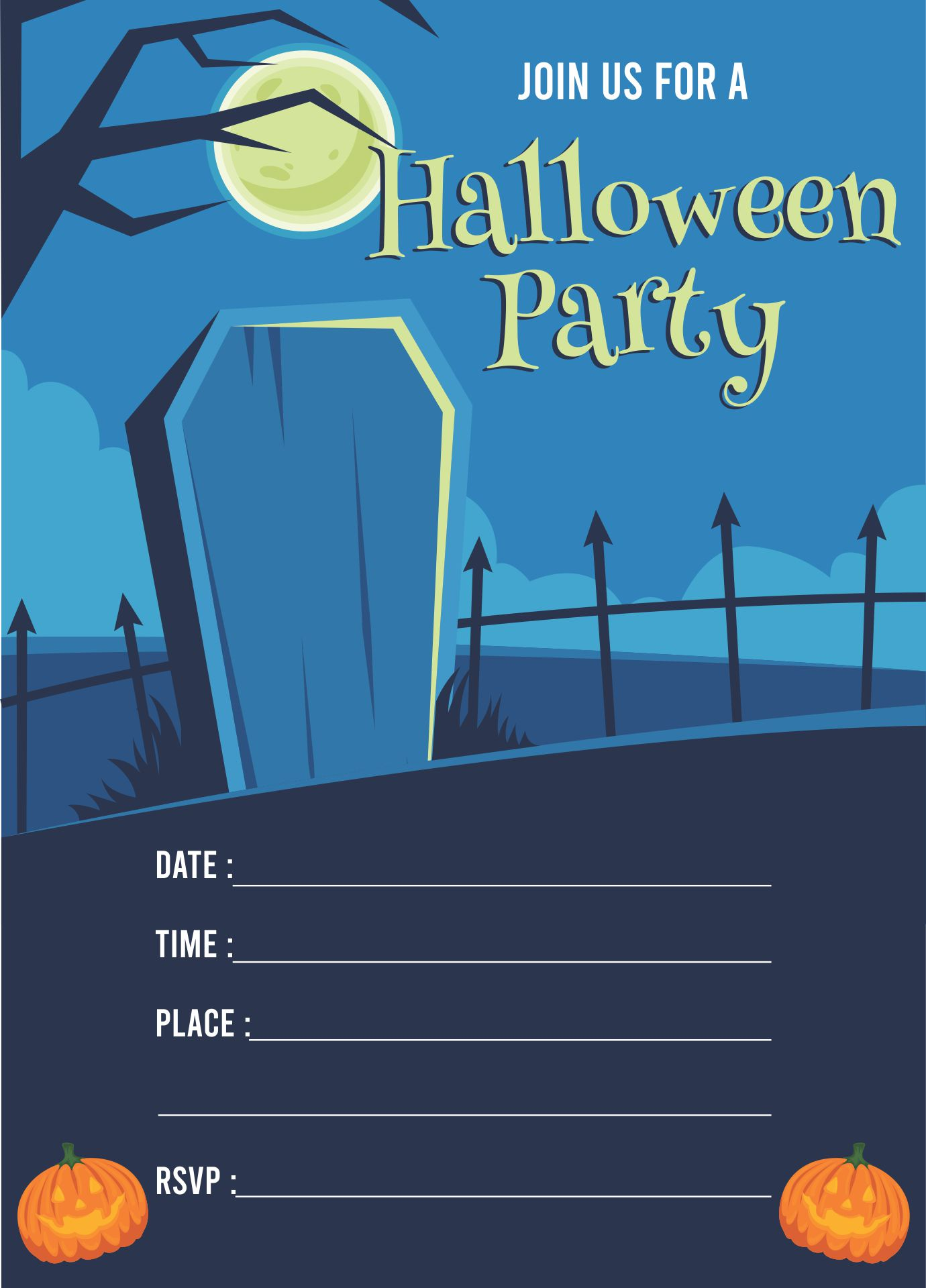 8 best images of halloween party printable birthday invitations halloween birthday party for Free halloween invites templates