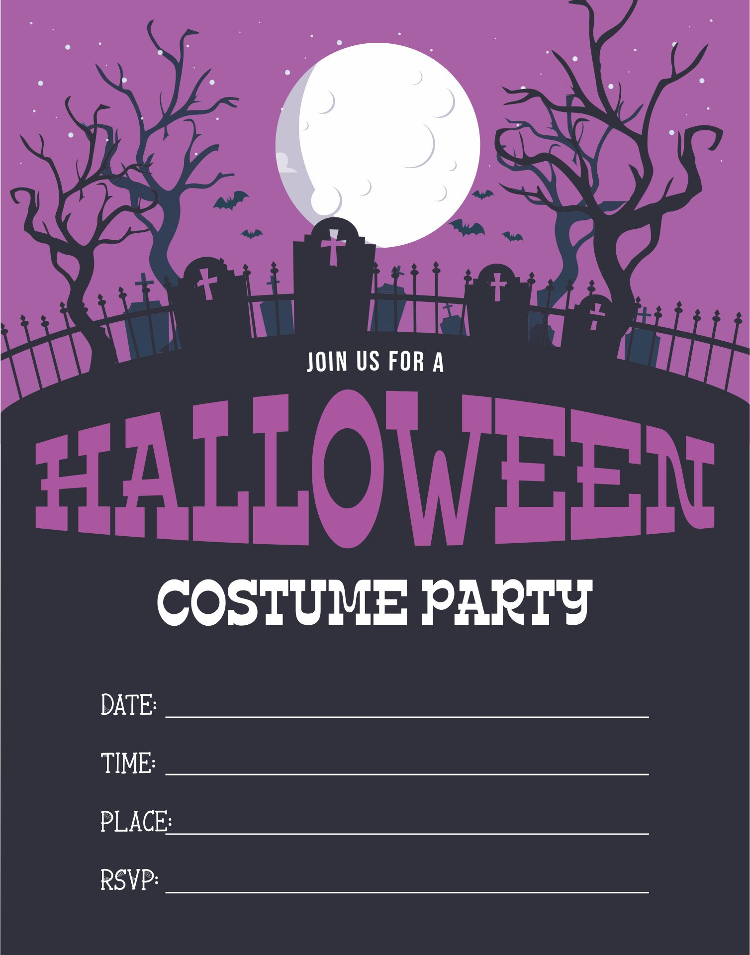 Printable Halloween Invitations Costume Party