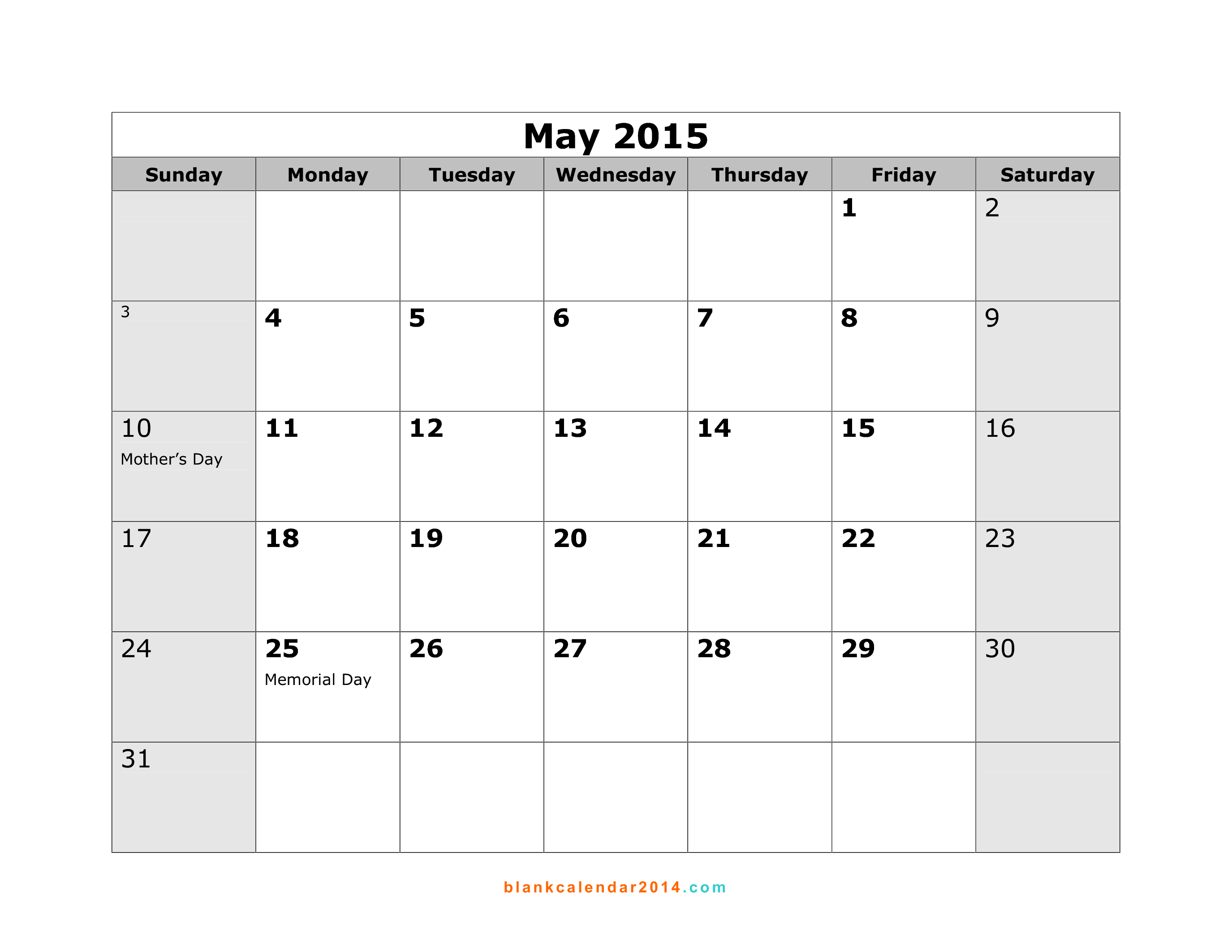 5 Images of May 2015 Calendar With Holidays Printable