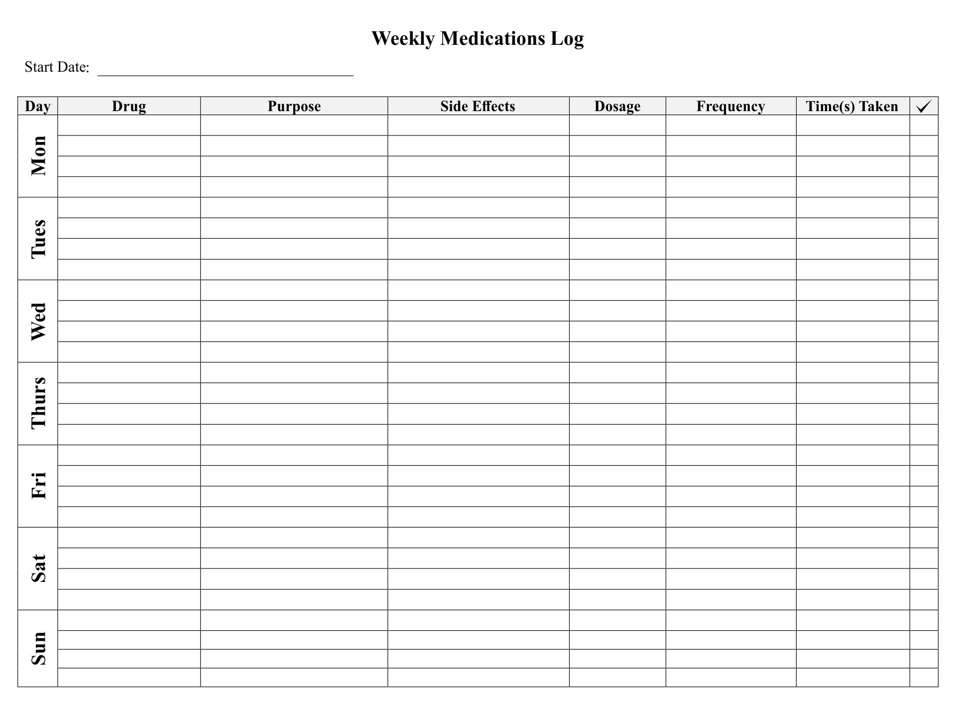 Printable Medication Log Sheets