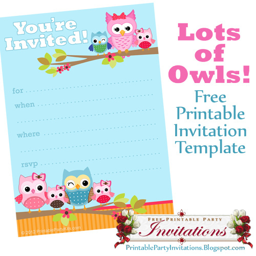 Free Printable Owl Invitation Templates