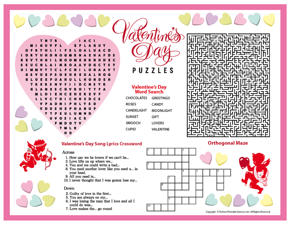 6 Images of Valentine's Day Puzzles Printable
