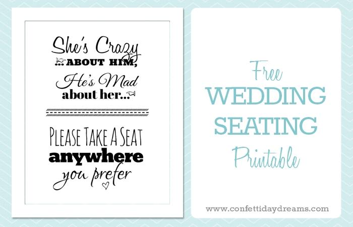 Free Printable Wedding Sign Pick a Seat