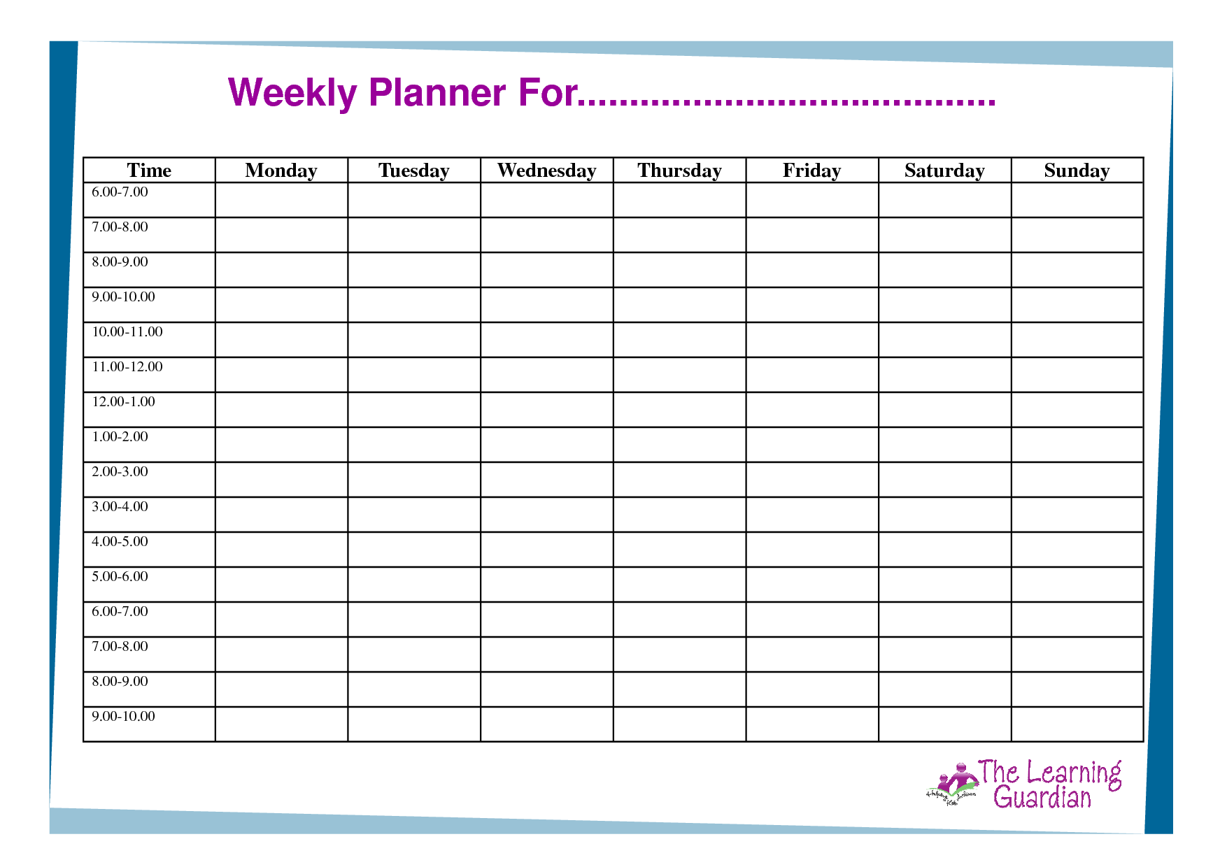 6 Images of Printable Weekly Schedule For Students