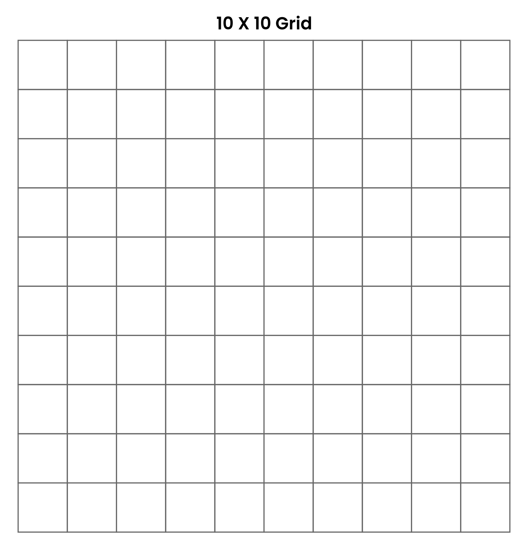 of 10 By 10 Grids Printable - Blank 100 Square Grid Paper, Printable ...