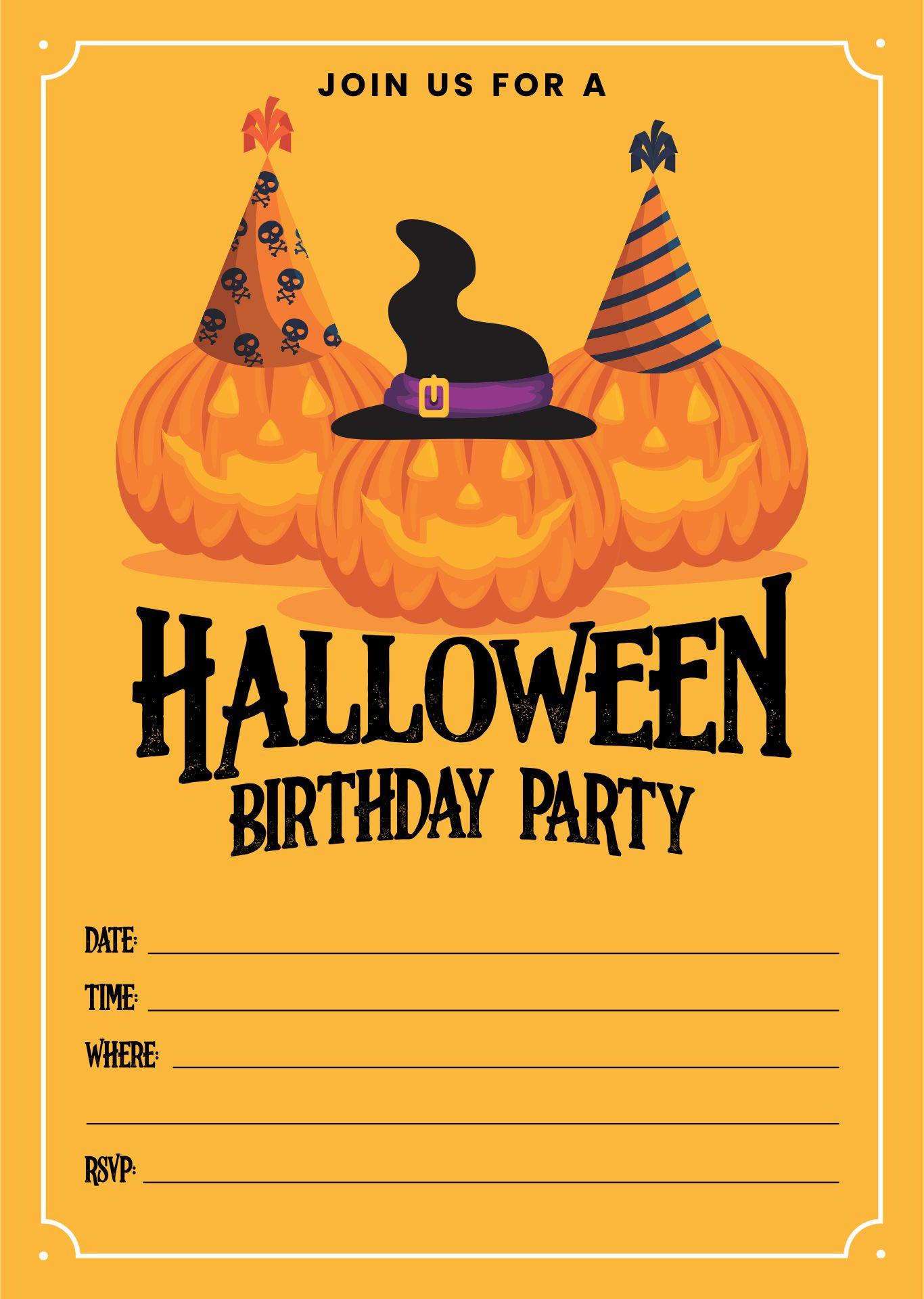 Halloween Birthday Party Invitation Templates Printable