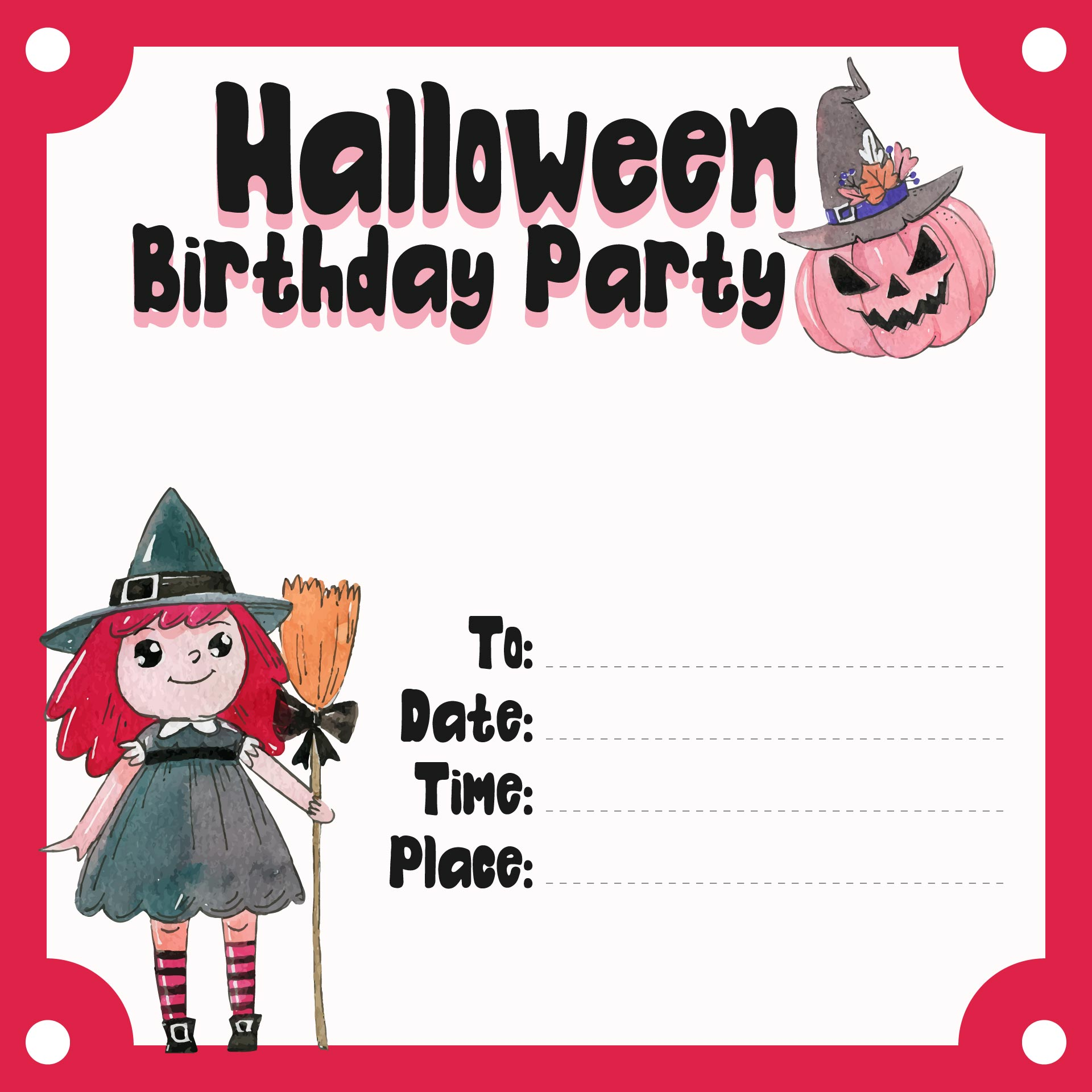 8 Images of Halloween Party Printable Birthday Invitations
