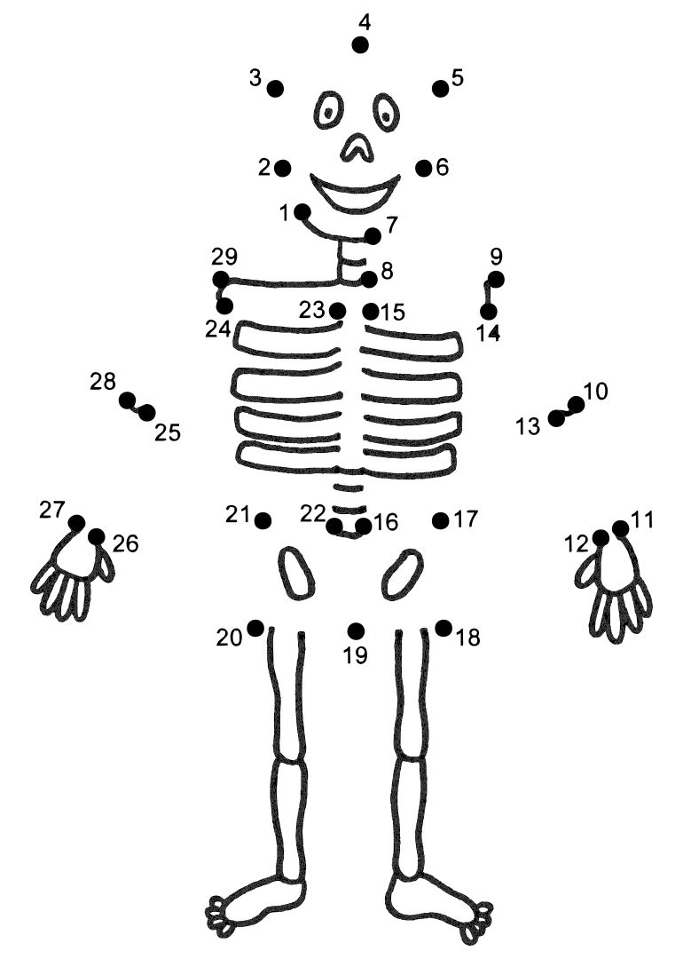 Halloween Connect the Dots Skeleton