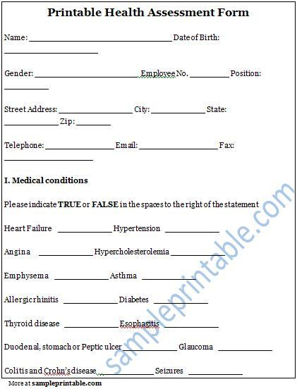 9 Images of Health Assessment Form Printable