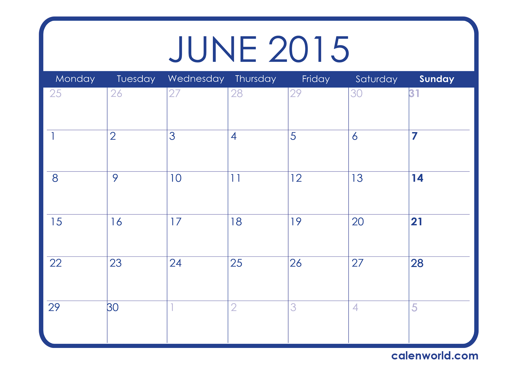 6 Images of Cute Printable June 2015 Calendar Template