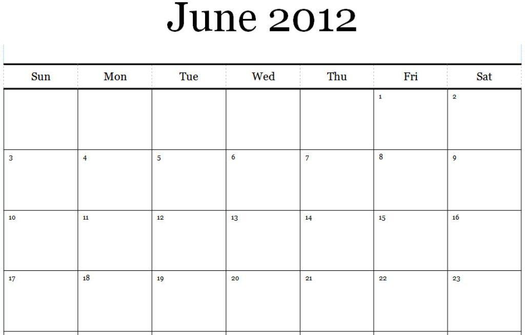 6 Images of June July 2012 Calendar Printable