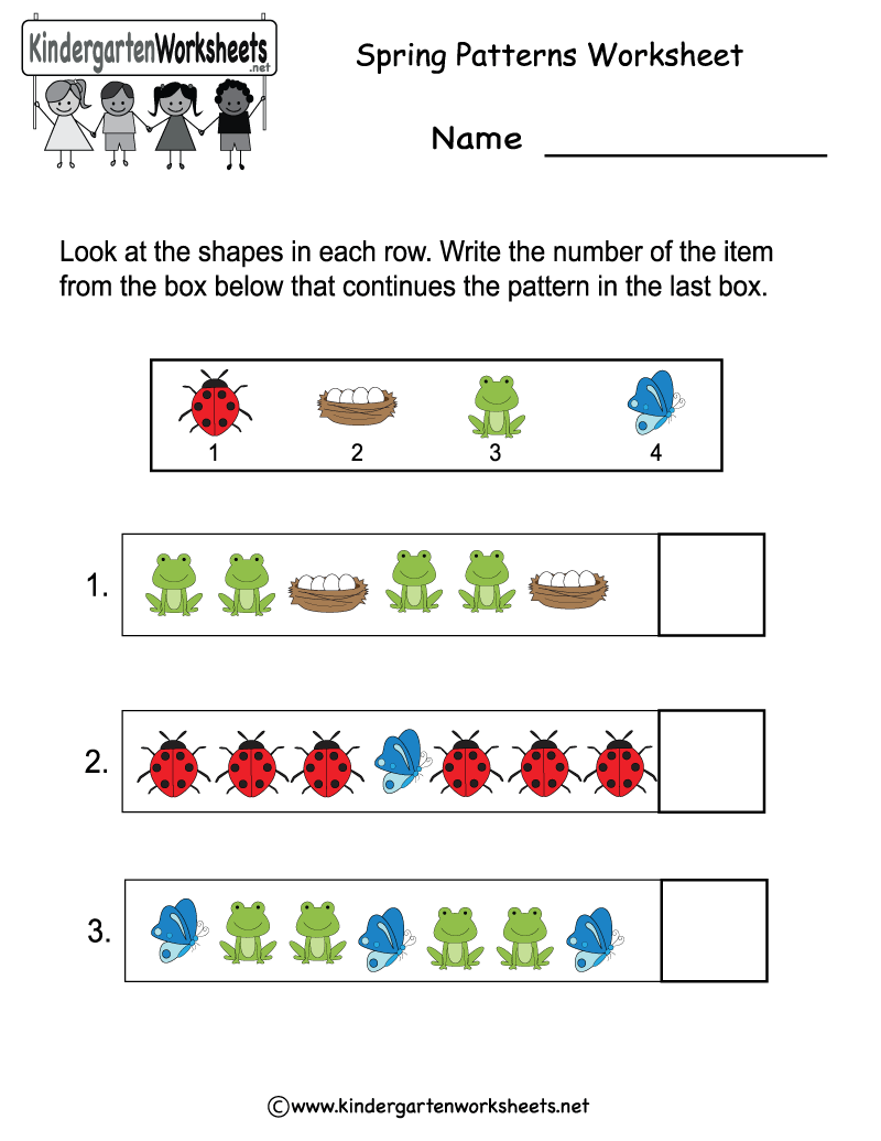 math worksheet : 8 best images of free printable kindergarten pattern worksheet  : Pattern Worksheet Kindergarten