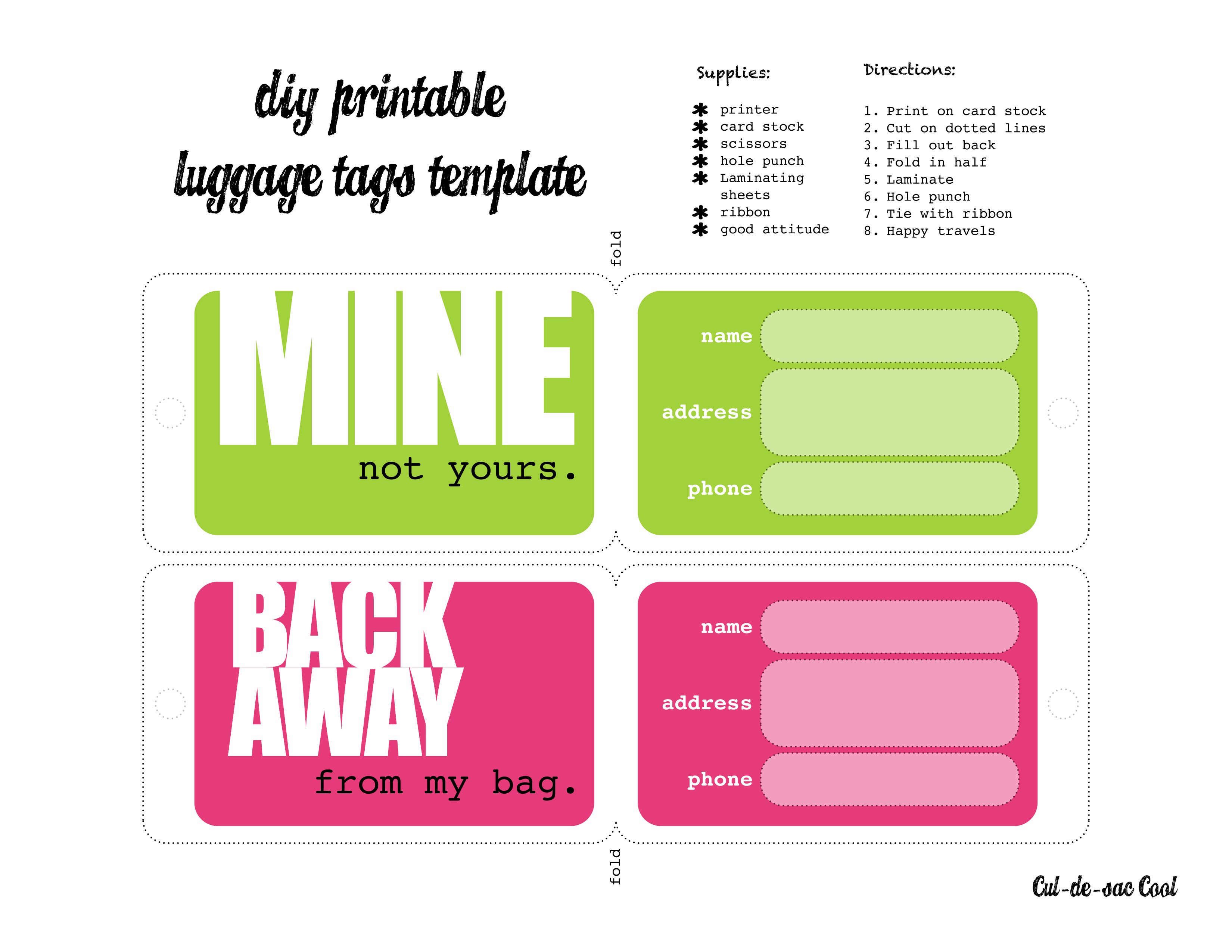 5 Images of DIY Printable Luggage Tags