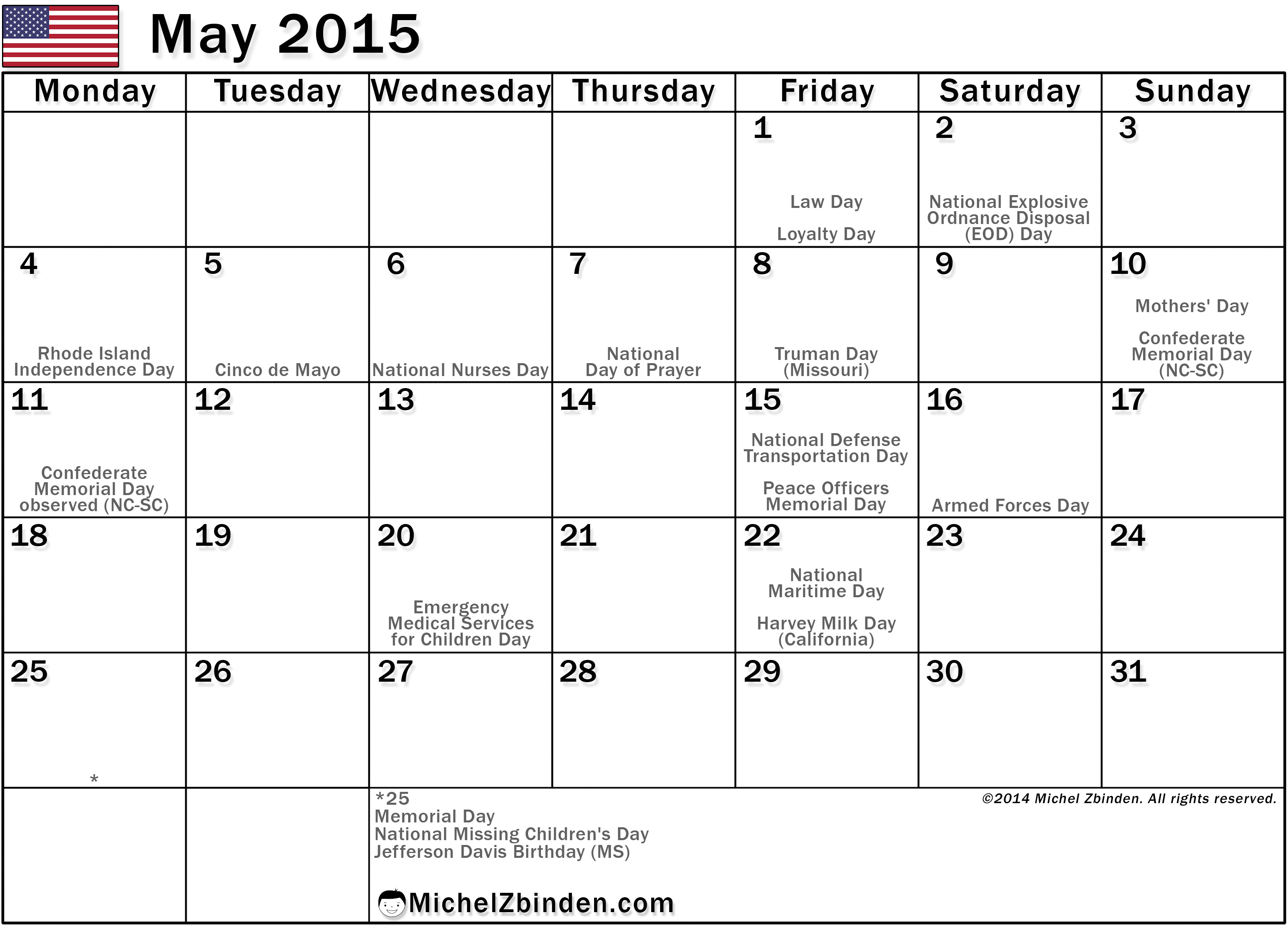 5 best images of may 2015 calendar with holidays printable for 2015 calendar template with canadian holidays