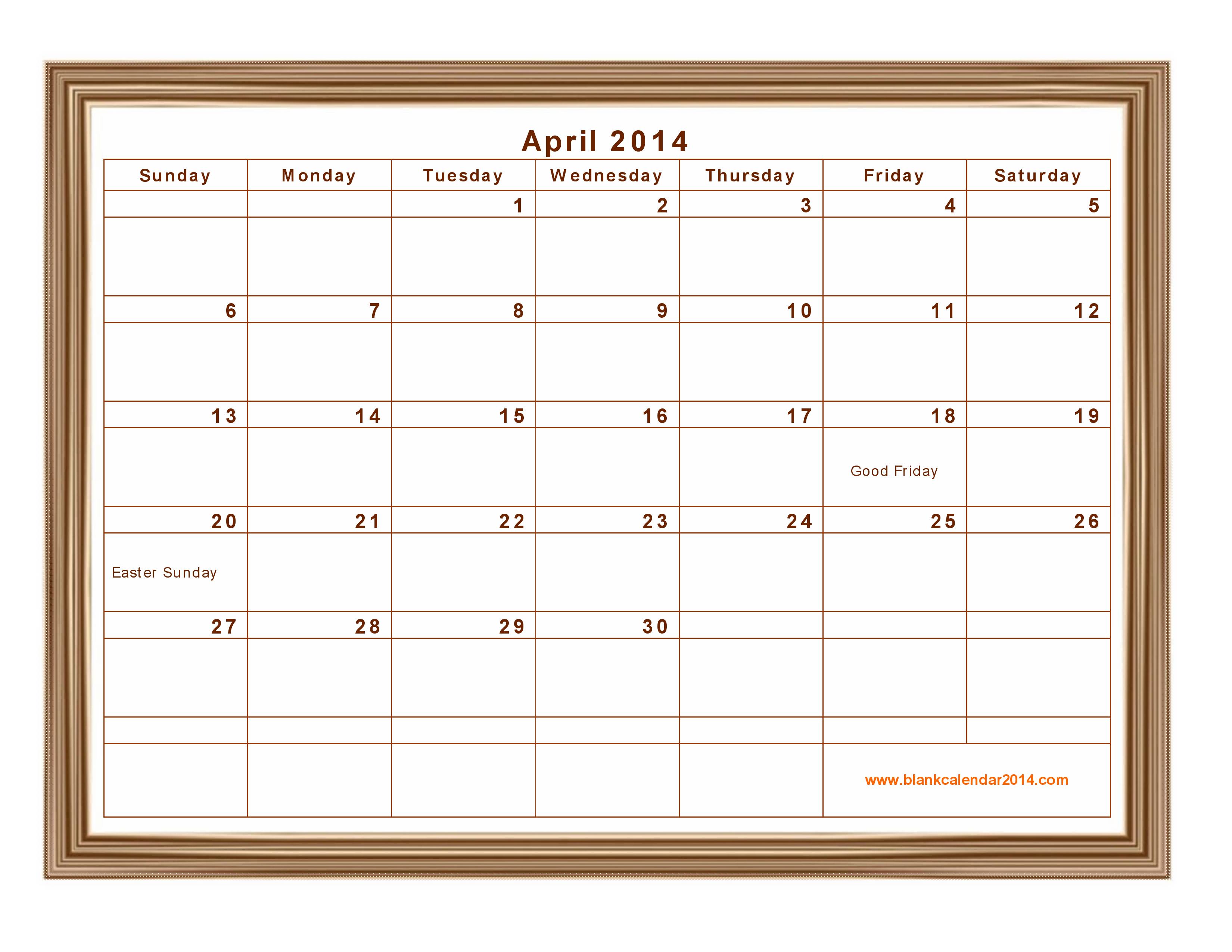 6 Images of April 2014 Calendar Printable Template