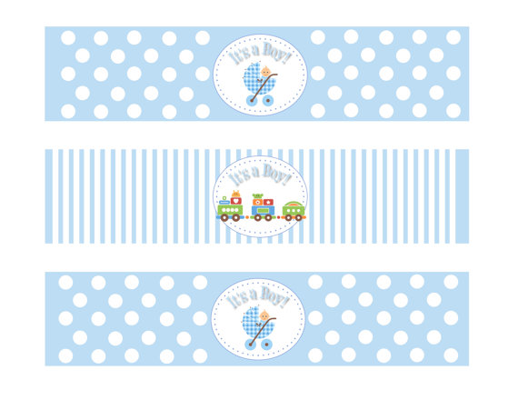 This is a photo of Free Printable Water Bottle Labels for Baby Shower intended for blue