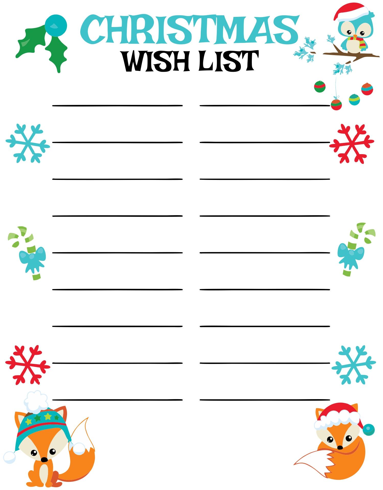 Printable Christmas Wish List Paper