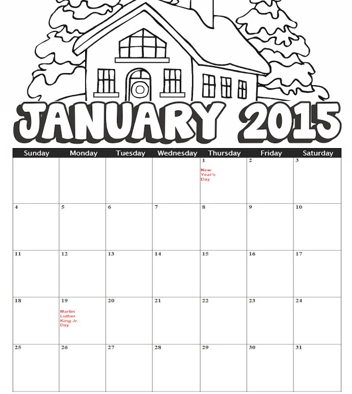 Printable Coloring Calendar January 2015
