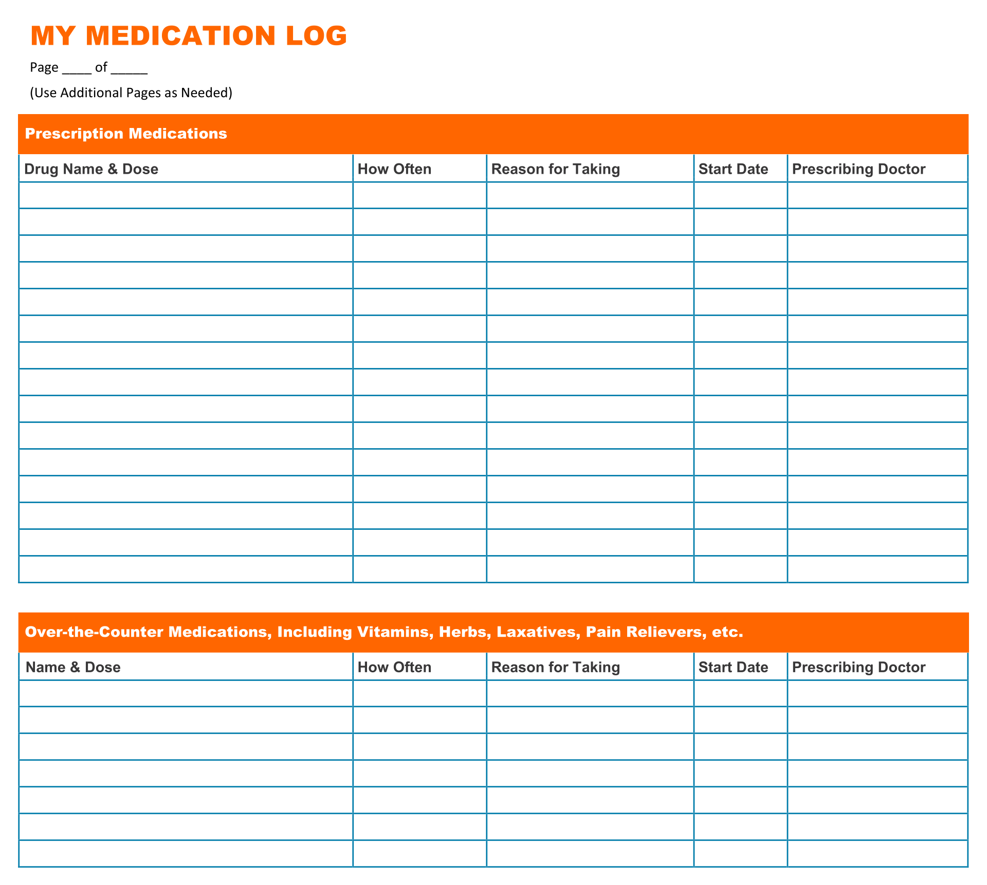 blank medication list templates - 7 best images of printable medication list for adult