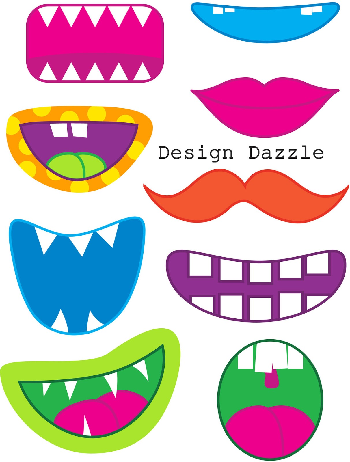 6 best images of funny face parts printable printable for Mouth template for preschool