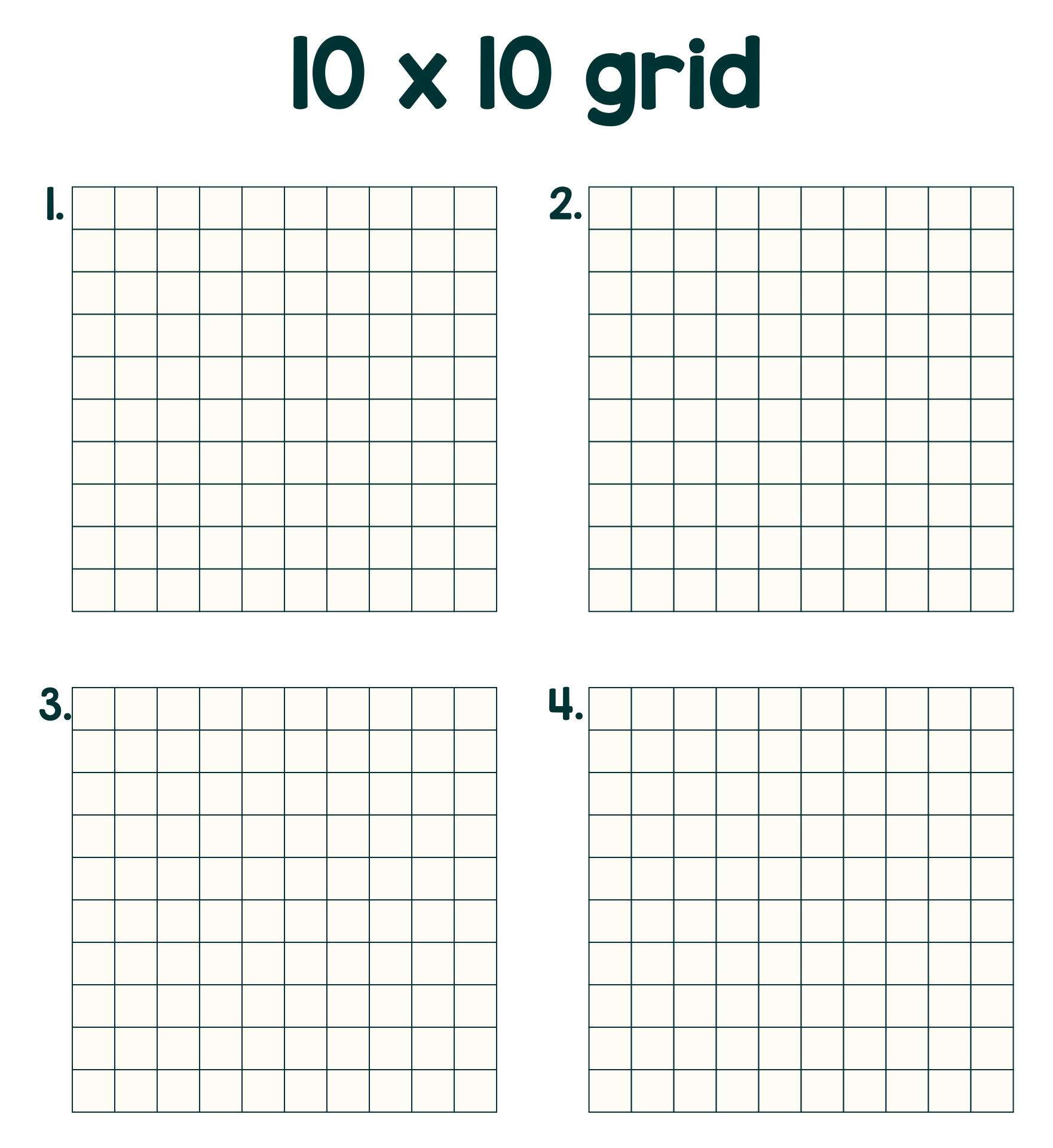 Printable Multiple 10 X 10 Grid Graph Paper