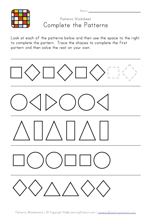 math worksheet : 8 best images of free printable kindergarten pattern worksheet  : Pattern Worksheets For Kindergarten Printable