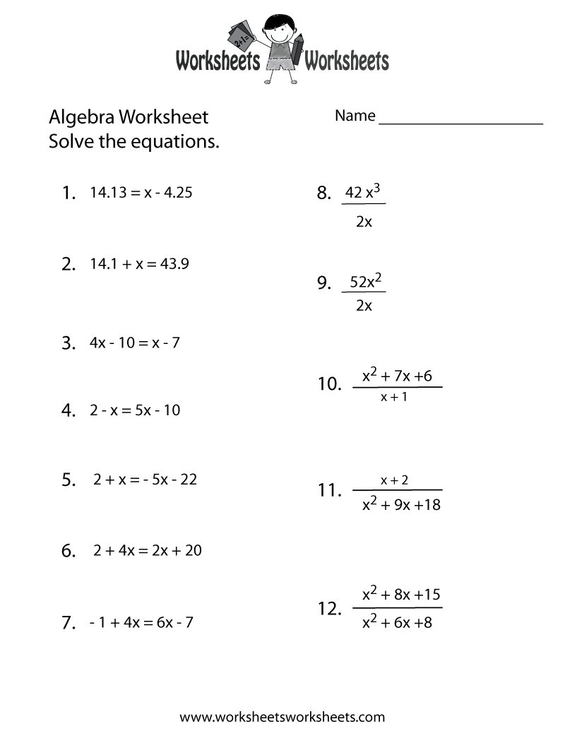 College algebra linear equations worksheets