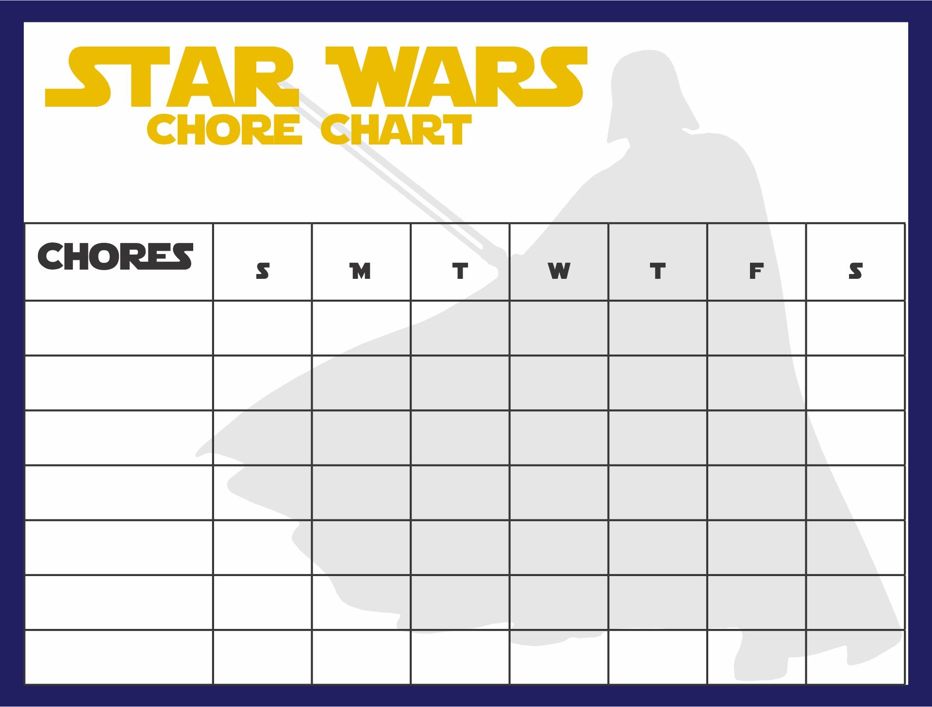 Star Wars Printable Chore Chart