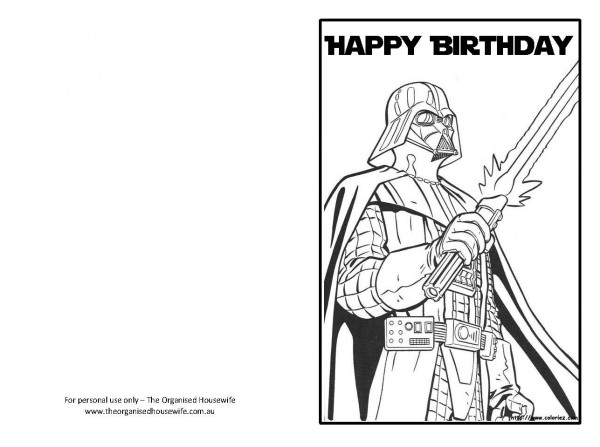 Witty image for star wars birthday card printable