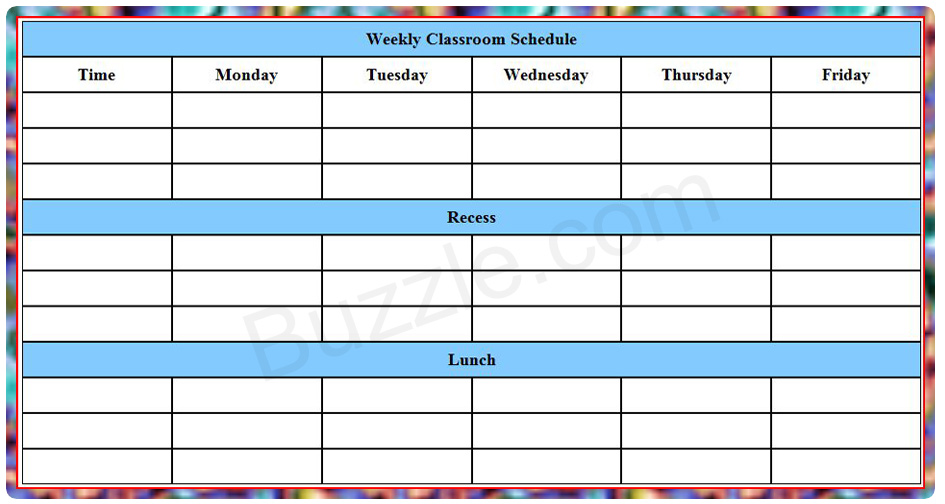 Weekly Class Schedule Template