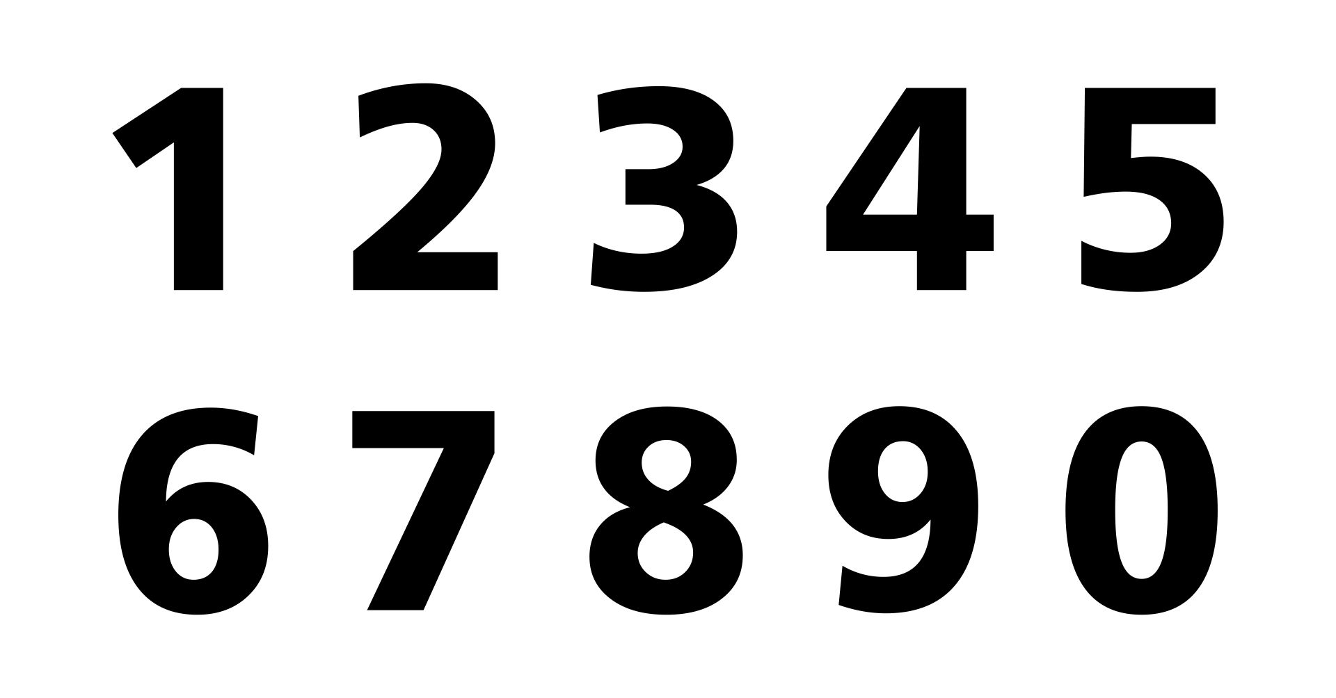 1 Inch Printable Block Numbers