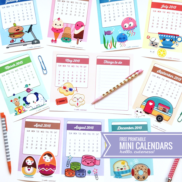 4 Images of Printable Kawaii 2015 Calendar