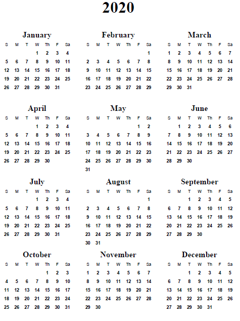 5 Images of Year 2020 Calendar Printable