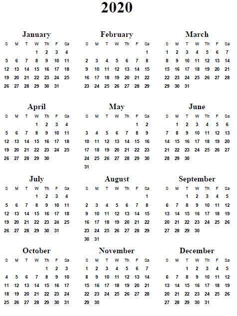 Best images of year 2020 calendar printable 2020 calendar