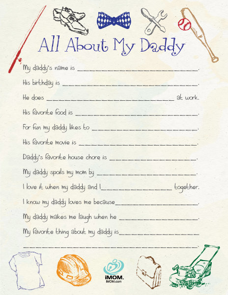 5 Images of Free Printable All About My Dad