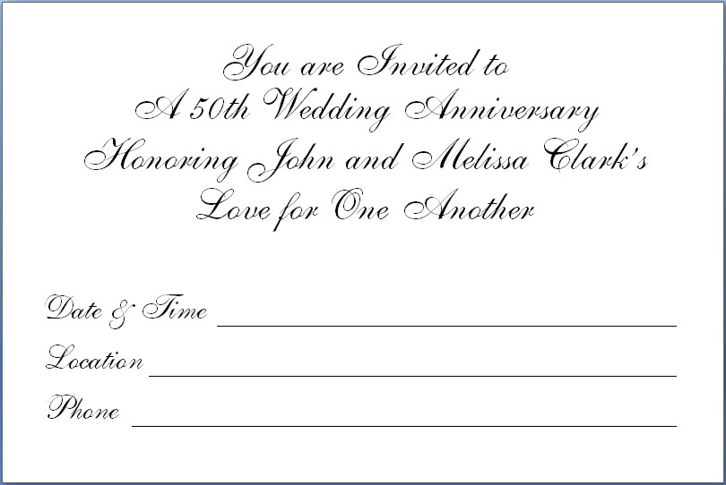 25Th Anniversary Invitation Templates Free – Invitations Templates