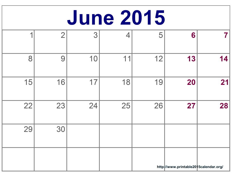 6 Images of June 2015 Calendar Free Printable Pages